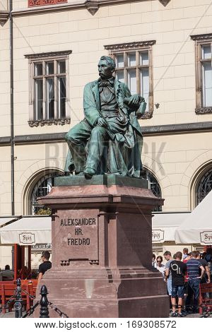 Wroclaw, Poland - September 11, 2016: Aleksander Fredro monument made by sculptor Leonardo Marconi in 1879.