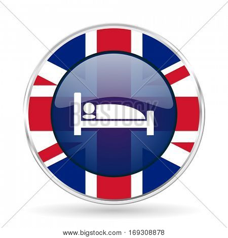 hotel british design icon - round silver metallic border button with Great Britain flag