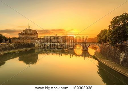 Morning view of Sant'Angelo castel, Rome, Italy