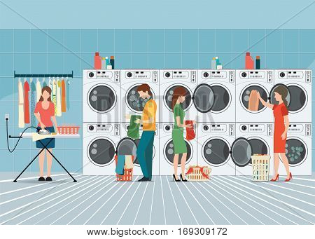 People in laundry room with row of industrial washing machines and facilities for washing clothes Laundry service banner concept vector illustration.