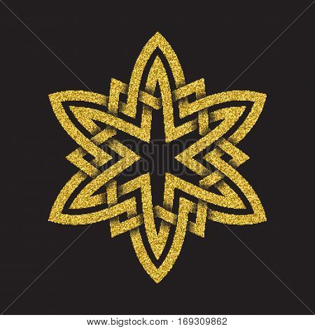 Golden glittering logo symbol in Celtic style on black background. Tribal symbol in hexagonal star form. Gold stamp for jewelry design.