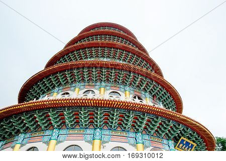 Looking up view of traditional oriental temple with beautiful decoration in Taipei Taiwan