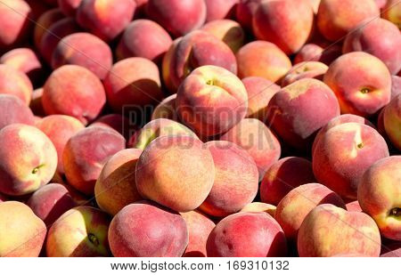 Fresh Peaches As Background