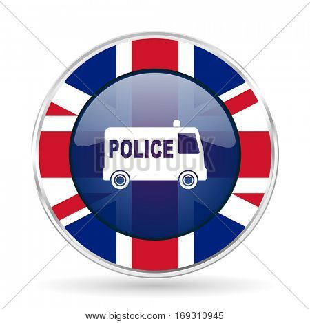 police british design icon - round silver metallic border button with Great Britain flag