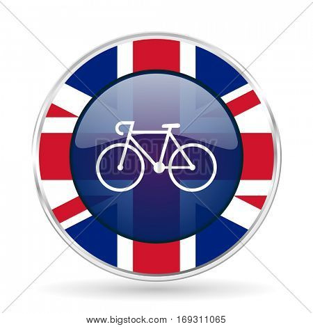 bicycle british design icon - round silver metallic border button with Great Britain flag