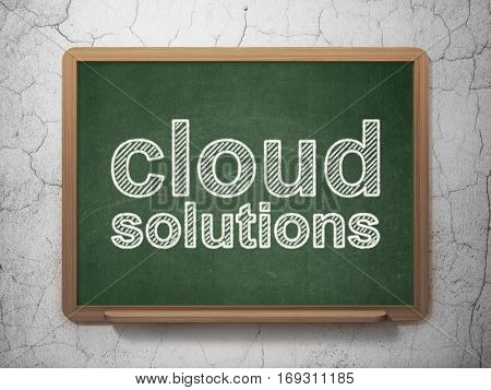 Cloud networking concept: text Cloud Solutions on Green chalkboard on grunge wall background, 3D rendering