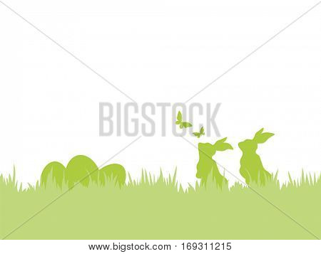 Happy Easter background. Silhouettes of Easter bunnies and eggs in grass with flying butterflies.