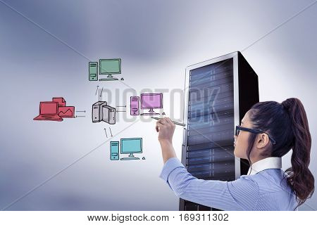 Businesswoman holding disposable cup and looking at wall with notes against composite image of cloud computing doodle