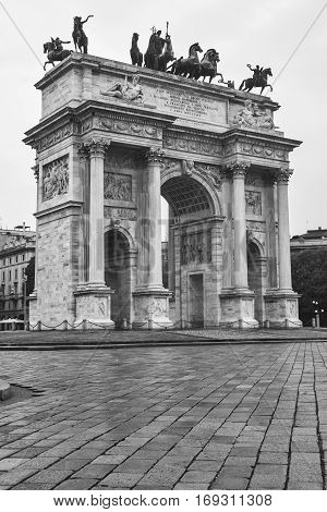 Milan (Lombardy Italy): the monumental arch known as Arco della Pace. Black and white