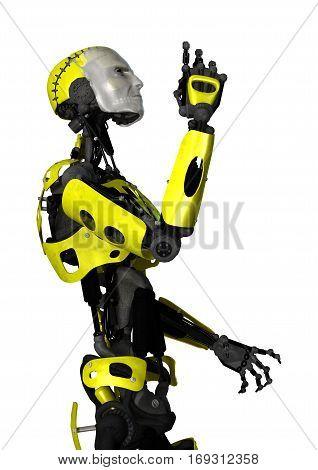 3D Rendering Robot On White