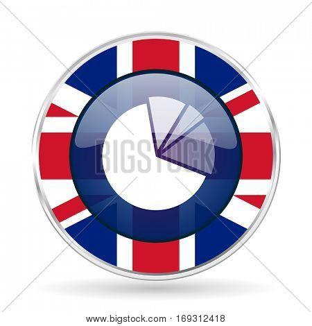 diagram british design icon - round silver metallic border button with Great Britain flag