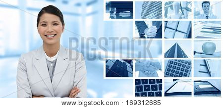 Smiling businesswoman with folded arms against composite image of angry businessman thump the table