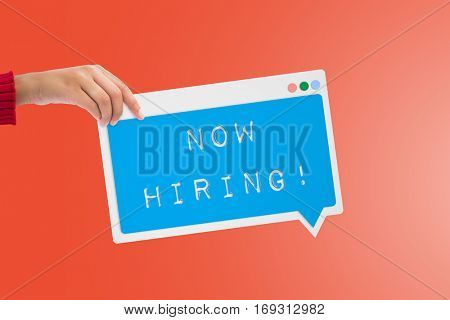 Now hiring message against red background