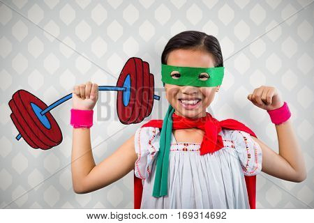 Portrait of girl wearing eye mask against room with wooden floor