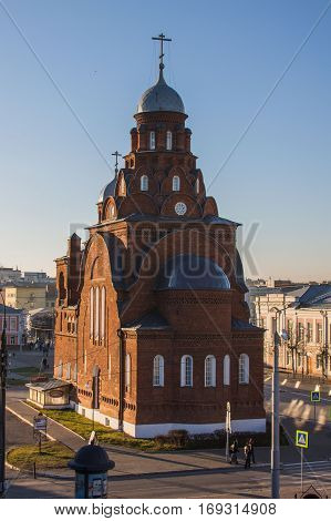 Old stone cathedral of red bricks in Vladimir-city