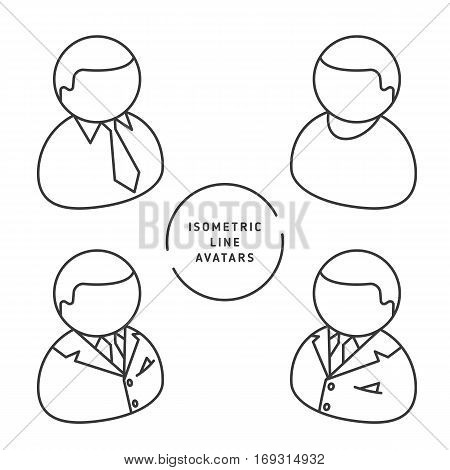 Thin line isometric vector avatars group of professions people. Professions icons avatars set on white background. Premium quality icon collection. Suitable for infographics web social networks etc