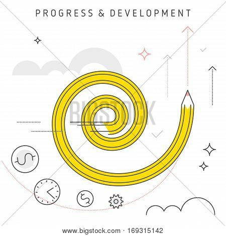 Vector flat line illustration represent creative progress concept. Idea of development process increase business growth business increase revenue investing money and time and moving upwards.