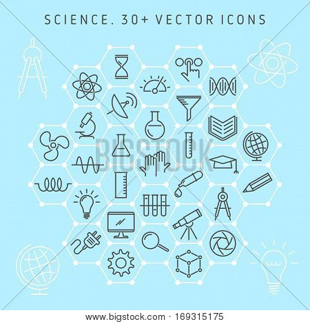 Vector line icon set of science lab and scientific research equipment. Science laboratory and symbols collection: atom molecule microscope chemical lab gene globe telescope electronics etc.
