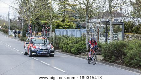 Conflans-Sainte-HonorineFrance-March 62016: The Swiss cyclist Michael Schar of BMC Racing Team riding during the prologue stage of Paris-Nice 2016.