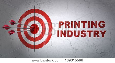 Success Industry concept: arrows hitting the center of target, Red Printing Industry on wall background, 3D rendering