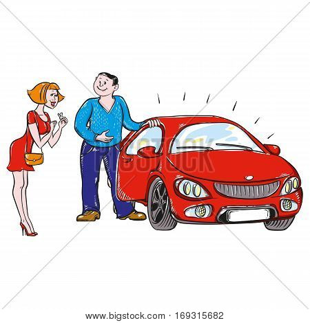 person gives or sells a car a woman who delighted