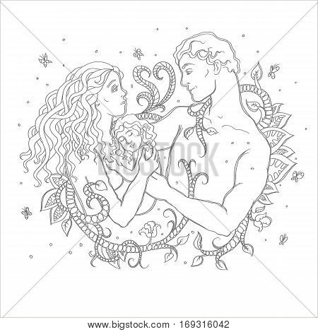 Happy married couple with a small child. Love loyalty forever. Floral pattern around a mother and father with a baby