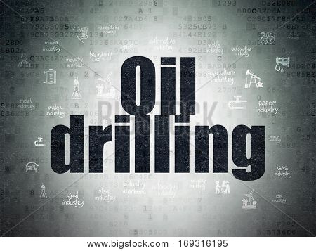 Manufacuring concept: Painted black text Oil Drilling on Digital Data Paper background with  Hand Drawn Industry Icons