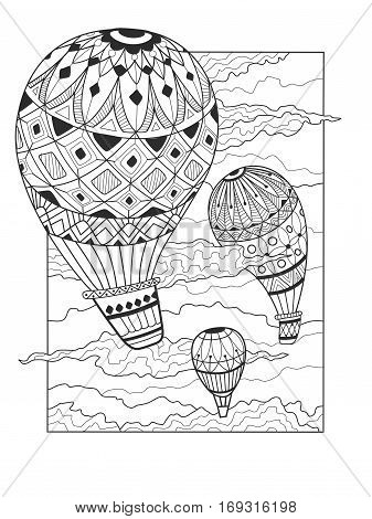 Aeronautic balloon coloring book vector illustration. Coloring for adult. Black and white lines. Lace pattern