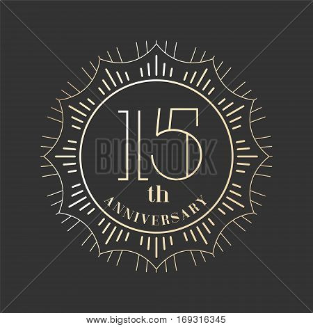 15 years anniversary vector icon logo. Graphic design element for 15th anniversary birthday card