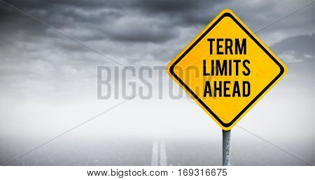 Term limits ahead against stormy sky over road
