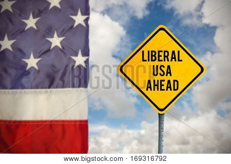 liberal usa ahead against composite image of creased us flag