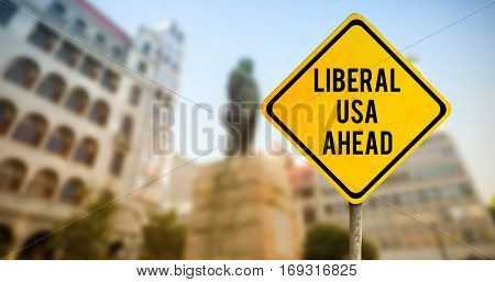 Large building in a city against liberal usa ahead