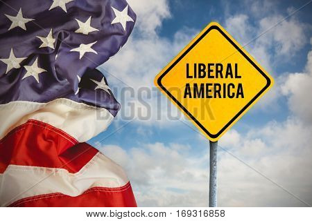 liberal america against composite image of creased us flag