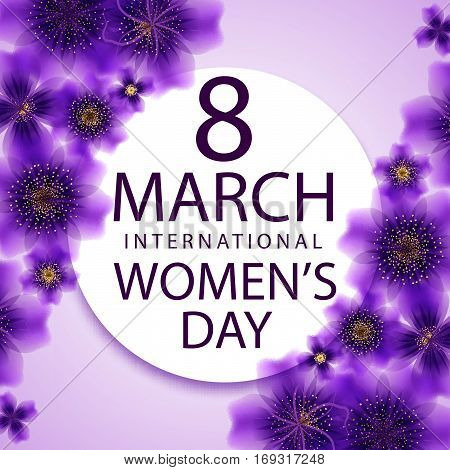 8 March international women's day greeting card template. Vector illustration. Eps 10.