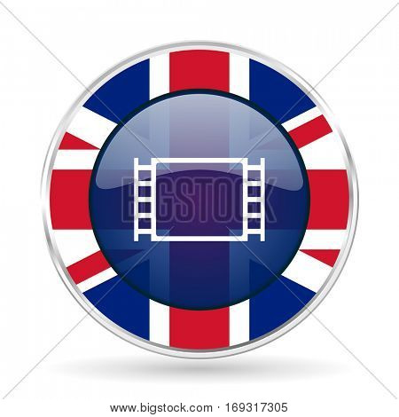 movie british design icon - round silver metallic border button with Great Britain flag