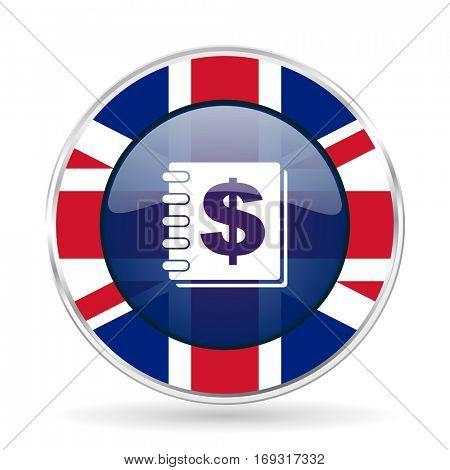 money british design icon - round silver metallic border button with Great Britain flag