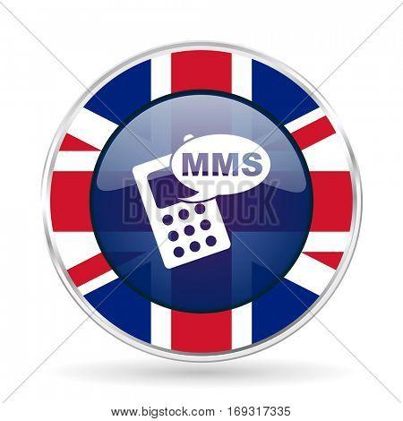 mms british design icon - round silver metallic border button with Great Britain flag