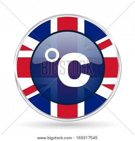 celsius british design icon - round silver metallic border button with Great Britain flag