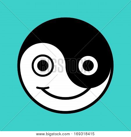 Black and white yin and yang symbol smiley face on aqua background vector illustration