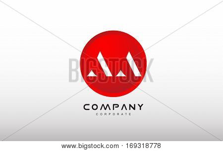 AA letter alphabet dot circle red simple flat technology modern creative vector logo icon sign design template