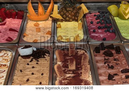 Italian Ice Cream Parlour: Assortment And Colorful Display Of Fruity Flavoured Ice Cream