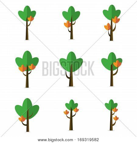Vector flat of tree style various collection stock