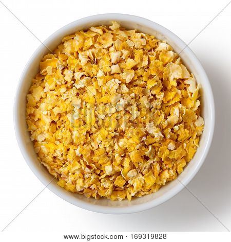 Dry Flaked Corn In White Ceramic Bowl Isolated On White From Above.