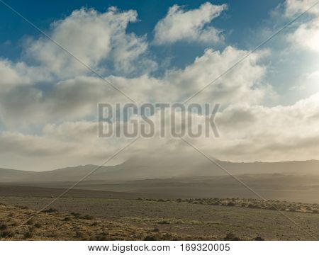 beautiful view of Lanzarotte desert and blue cloudy sky, Canary Island