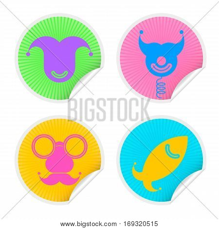 Colorful four sticker set with Fools Day Symbols. Vector illustration april fools icons badge collection in different colors isolated on white background.