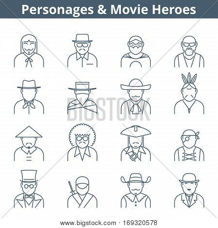 Thin line vector avatar icon set. Personages and movie heroes avatar people isolated on white background. Professions icons actor icons suitable for infographics web graphics social networks