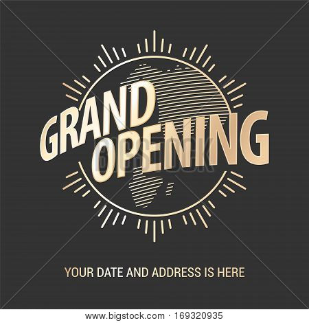 Grand opening vector banner. Template graphic design element for opening ceremony