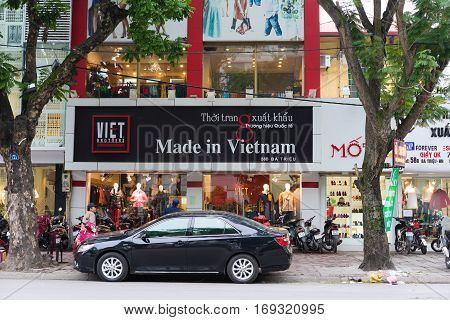 Hanoi, Vietnam - Nov 16, 2014: Front view of a Made in Vietnam store on Ba Trieu street. This is the good quality exporting cloth brand name in Vietnam