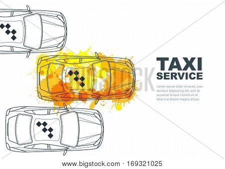 Vector Taxi Service Banner, Flyer, Poster Design Template. Call Taxi Concept. Taxi Yellow Watercolor