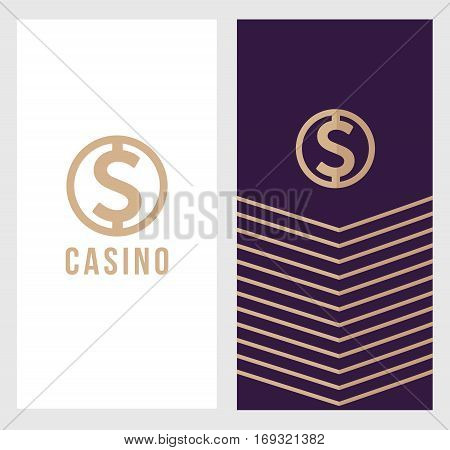 Casino logo banner, dollar sign icon, label symbol, logotype concept. Will be suitable for flyer, poster. vector illustration.